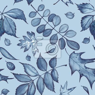 Tapeta Bezszwowy wzór witn koloru indygo liście. Akwarela na niebieskim tle.