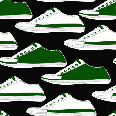 Tapeta Bezszwowy wzór z butami w białych i zielonych kolorach