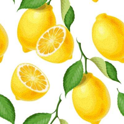 Tapeta Bezszwowy wzór z cytrynami