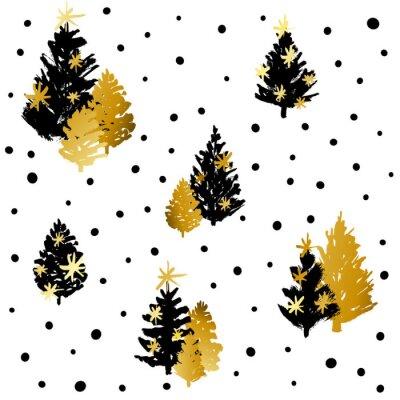 Tapeta Bezszwowy wzór z czarnymi i złotymi choinkami