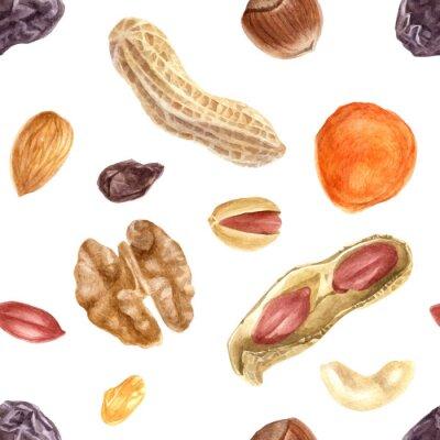Tapeta Bezszwowy wzór z dokrętkami i wysuszonymi owoc