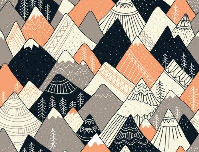 Tapeta Bezszwowy wzór z górami w scandinavian stylu. Dekoracyjne tło z krajobrazem. Ręcznie rysowane ozdoby.