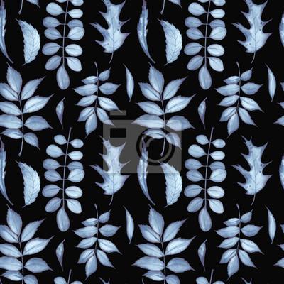 Tapeta Bezszwowy wzór z indygowymi liśćmi na czarnym tle. Malarstwo akwarelowe.