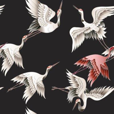 Tapeta Bezszwowy wzór z Japońskim białym żurawiem w batika stylu. Ilustracji wektorowych.