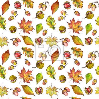 Tapeta Bezszwowy wzór z klonem, liśćmi dębu, kasztanami i żołędziami. Akwarela na białym tle.