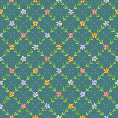 Tapeta Bezszwowy wzór z kwiatami i liśćmi