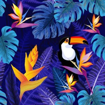 Tapeta Bezszwowy wzór z kwiatami i pieprzojada ptakiem