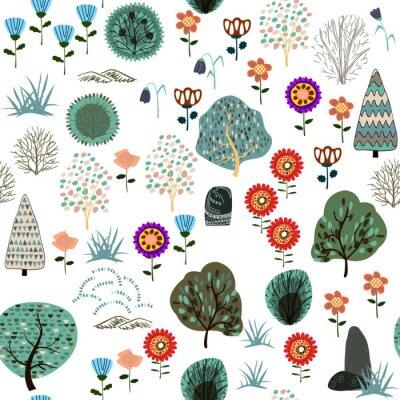 Tapeta Bezszwowy wzór z lasowymi elementami i ręka rysującymi kształtami. Dziecinna tekstura.