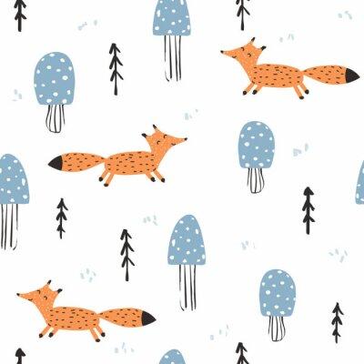Tapeta Bezszwowy wzór z lisem i pieczarkami. Drukuj słodkie dzieci. Wektorowa ręka rysująca ilustracja.