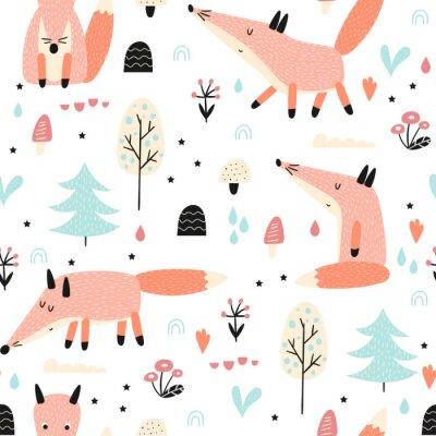 Tapeta Bezszwowy wzór z lisem w lesie