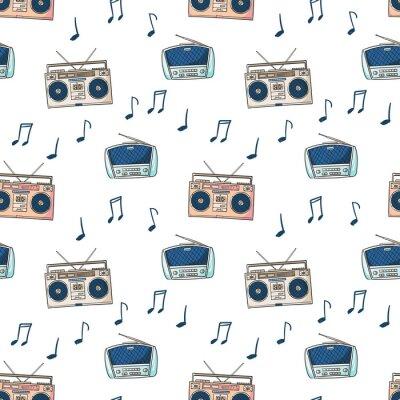 Tapeta Bezszwowy wzór z magnetofonem dla audio kaset i radia, notatek kreskówki styl
