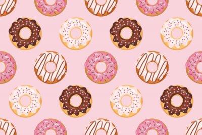 Tapeta Bezszwowy wzór z oszklonymi donuts. Różowe kolory. Girly. Do druku i internetu.