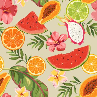 Tapeta Bezszwowy wzór z owoc i egzotycznymi kwiatami