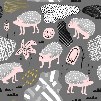 Tapeta Bezszwowy wzór z Ślicznym jeżem. Kreatywny ręcznie rysowane dziecinne tło zwierzęce tkanina, tapeta, ozdoba. Ilustracji wektorowych