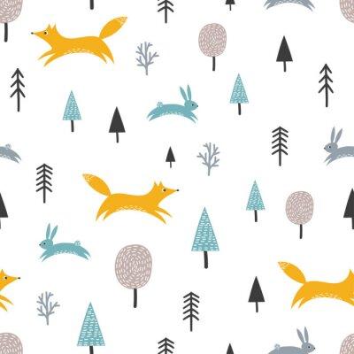 Tapeta Bezszwowy wzór z ślicznym lisem, zając i drzewami. Tło lasu, styl skandynawski.