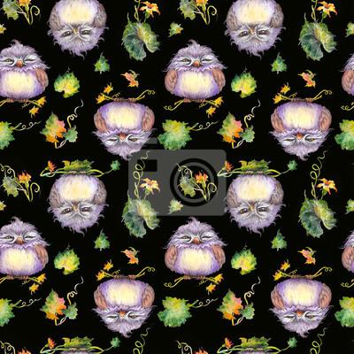 Tapeta Bezszwowy wzór z śmiesznymi sowami siedzi na dyniowych gałąź. Akwarela na czarnym tle.