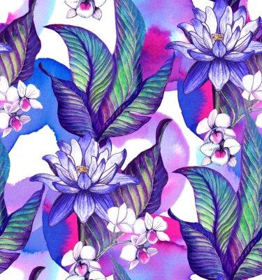Tapeta Bezszwowy wzór z tropikalnymi liśćmi. akwarela wzór z kwiat lotosu i akwarela plamy, biały storczyk Phalaenopsis