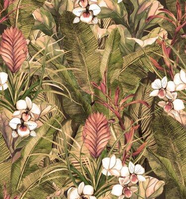 Tapeta Bezszwowy wzór z tropikalnymi liśćmi i kwiatami. akwarela wzór z białej orchidei phalinopsis. Tło botaniczne