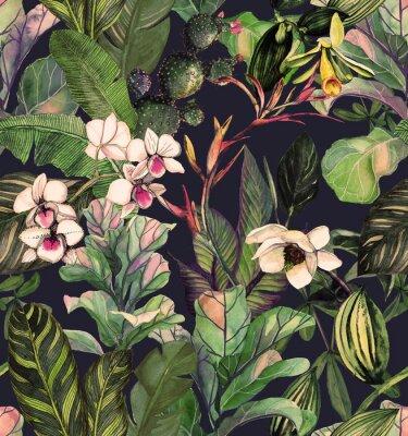 Tapeta Bezszwowy wzór z tropikalnymi liśćmi i kwiatami. akwarela z kwiatem magnolii, orchidee, kaktus, biała orchidea phalinopsis. Tło botaniczne