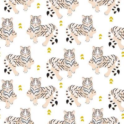 Tapeta Bezszwowy wzór z tygrysem na zielonym tle.