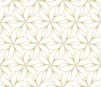 Tapeta Bezszwowy złoty kwiatu wzór na białym tle