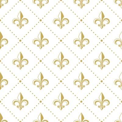 Tapeta Bezszwowy złoty wzór z Fleur de Lis. Ilustracji wektorowych.