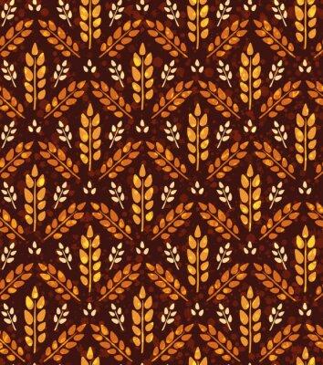 Tapeta Bezszwowych rocznika wzór z pszenicy. Brown rolnych tle o zbiorach i ziarna