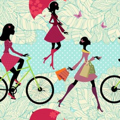 Tapeta Bezszwowych tekstur z mody dziewczyn na wakacjach