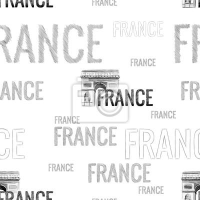 Tapeta bezszwowych tekstur z napisami we Francji w szybkim stylu niechlujstwa ręcznie z wizerunkiem zabytków Łuku Triumfalnego w Paryżu monochromatyczny rysunek wektor