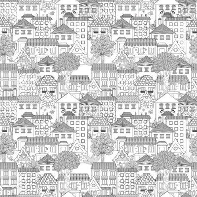 Tapeta bezszwowych tekstur ze słodkie domy i drzewa dla kolorowanka