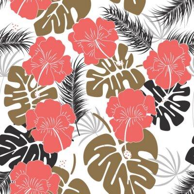 Tapeta Bezszwowych tropikalnych deseń z liśćmi monstera i kwiaty na białym tle