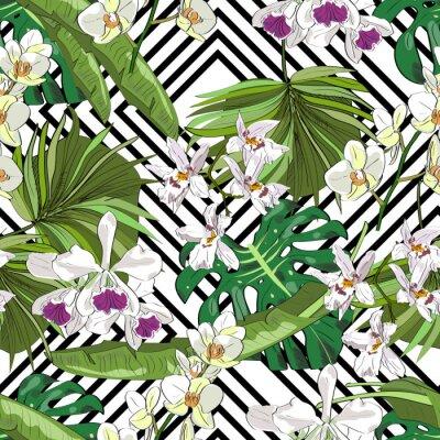 Tapeta Bezszwowych wektora deseniu ręcznie rysowane kwiatów i liści. Tropikalne tło.