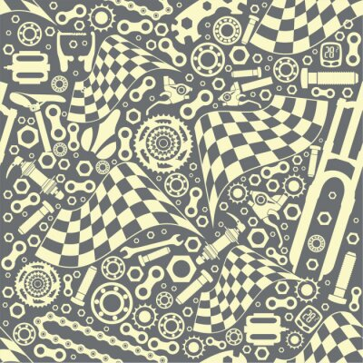 Tapeta Bicycle parts with a starting flag. Seamless pattern. Vector image.