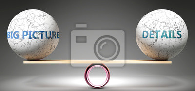Tapeta Big picture and details in balance - pictured as balanced balls on scale that symbolize harmony and equity between Big picture and details that is good and beneficial., 3d illustration