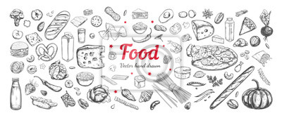 Tapeta Big vector set of healthy food ingredients. Hand drawn sketches. Isolated objects
