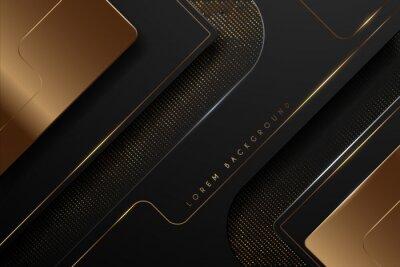 Tapeta Black and gold luxury shape background