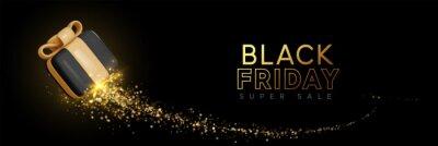 Tapeta Black Friday Super Sale. Realistic 3d design black gifts boxes. Horizontal banner, template header for website. Vector illustration