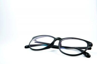 Tapeta black glasses isolated on white background
