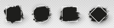 Tapeta Black grunge backgrounds with white frame. Dirty artistic design elements, frames for text. Paint, ink brush strokes, brushes splashes - stock vector.