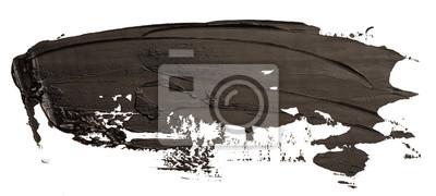 Tapeta Black oil texture paint stain brush stroke isolated on white background.