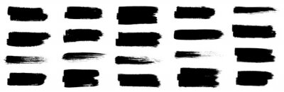 Tapeta Black set paint, ink brush, brush strokes, brushes, lines, frames, box, grungy. Grungy brushes collection. Brush stroke paint boxes on white background - stock vector.