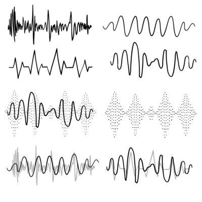 Tapeta Black sound waves. Music audio frequency, voice line waveform, electronic radio signal, volume level symbol handdrawn doodle vector