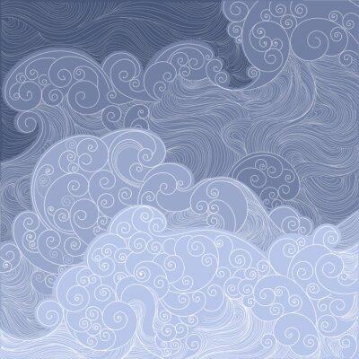 Tapeta błękitne morze, ocean, szalejące fale