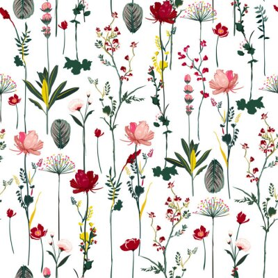 Tapeta Blooming Botanical flowers  soft and gentle seamless pattern on vector repeat design for fashion,fabric,wallpaper and all prints