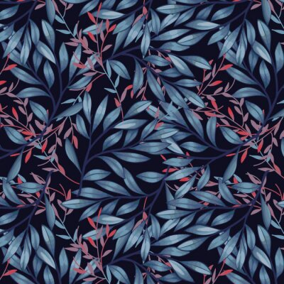 Tapeta Blue and red leaves on dark background pattern