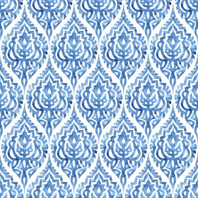 Tapeta Blue and white damask seamless pattern. Elegant watercolor print for textiles. Handwork with a brush on paper. Grunge texture, blots, stains of water.
