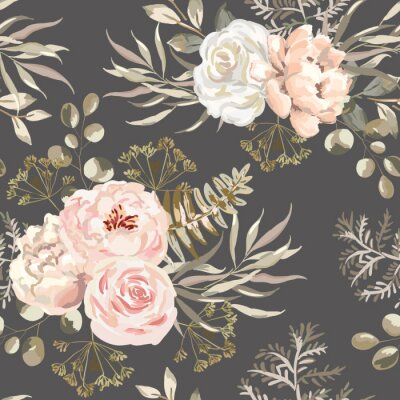 Tapeta Blush pink rose, peony flowers with beige leaves bouquets, brown background. Floral illustration. Vector seamless pattern. Botanical design. Nature summer plants. Romantic wedding