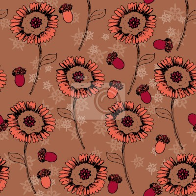 Tapeta Boheme Fantasy Flowers Brown