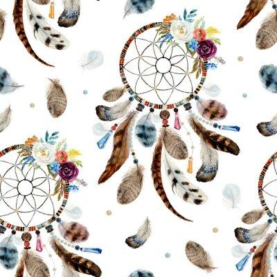 Tapeta Boho bezszwowe etniczne akwarela kwiatowy wzór - dreamcatchers i kwiaty na białym tle, wystrój plemienia Indian amerykańskich, plemiennych navajo na białym tle ornament bohemy, Indian, Peru, Aztec.