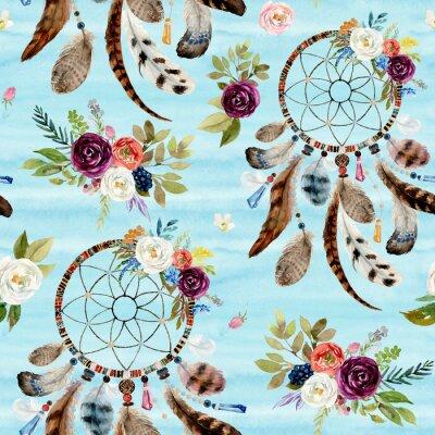Tapeta Boho bezszwowe etniczne akwarela kwiatowy wzór - dreamcatchers i kwiaty na niebieskim tle, wystrój plemienia Indian amerykańskich, plemiennych navajo na białym tle ornament bohemy, Indian, Peru, Aztec